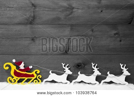 Gray Card With Santa Claus Sled, Reindeer, Snow, Copy Space