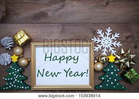 Frame With Christmas Decoration And Text Happy New Year