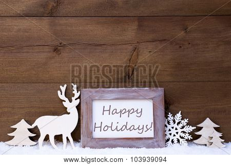Shabby Chic Christmas Card With Happy Holidays