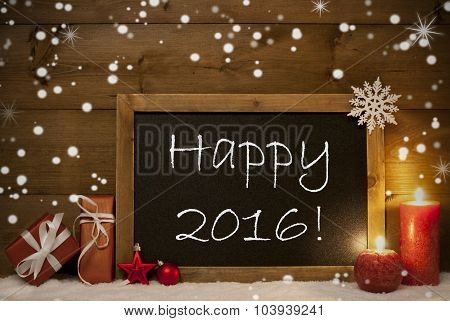 Christmas Card, Blackboard, Snowflakes, Candles, Happy 2016