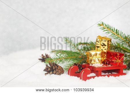 Christmas Gifts On Sledge