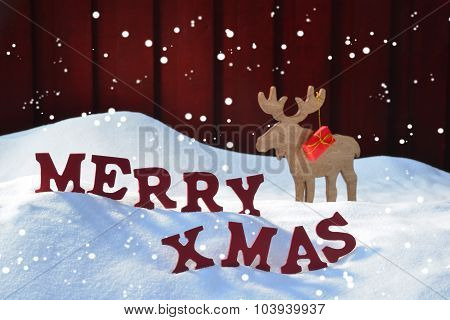 Christmas Card With Moose And Gift, Snow, Merry Xmas, Snowflakes