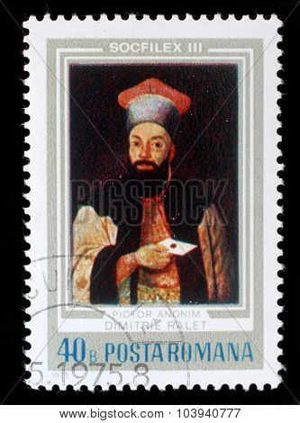 ROMANIA - CIRCA 1973: a stamp from Romania shows image of Demetrius Ralet (1817 - 1858) the poet, novelist, translator and playwright, circa 1973