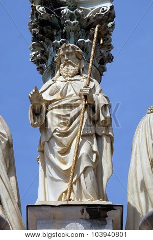 LJUBLJANA, SLOVENIA - JUNE 30: St. James,on the St. Mary pillar in front of Saint James church in Ljubljana, Slovenia on June 30, 2015