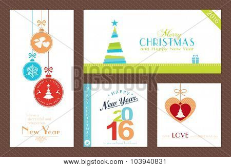 Flat, modern Christmas and Happy New Year backgrounds isolated on white with baubles, Christmas trees and sayings for the festive season to come.