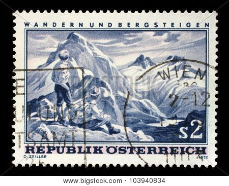 AUSTRIA - CIRCA 1970: a stamp printed in the Austria shows Mountain Scene, Hiking and Mountaineering in Austria, circa 1970