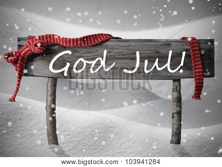 Gray Card With Sign, Swedish God Jul Mean Merry Chrsitmas