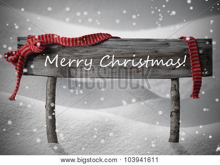 Brown Sign Merry Christmas,Snow, Snowfalkes