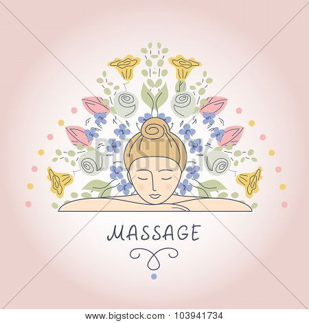 Vector illustration. Massage and Relaxation.