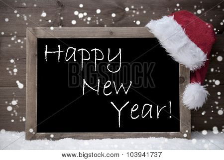 Gray Christmas Card, Blackboard, Happy New Year, Snow