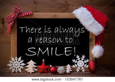 Brown Blackboard Santa Hat Christmas Decor Quote Reason Smile