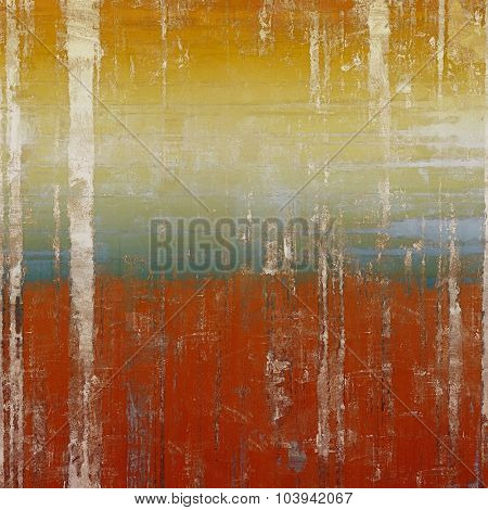 Old grunge background with delicate abstract texture and different color patterns: yellow (beige); brown; blue; red (orange)