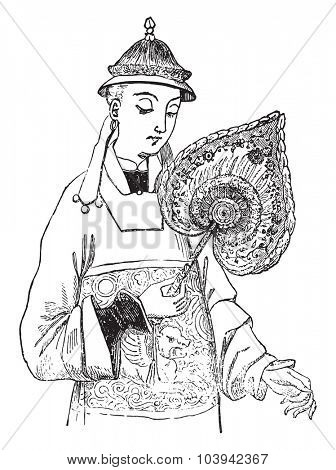 Chinese Fan, vintage engraved illustration. Industrial encyclopedia E.-O. Lami - 1875.
