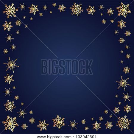 Snowflakes Gold Frame On Deep Blue