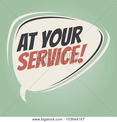 at your service retro speech bubble