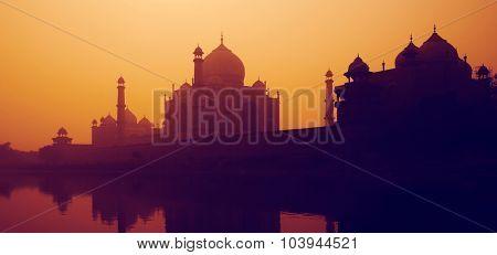 Sunset Silhouette Of A Grand Taj Mahal Sunset Concept