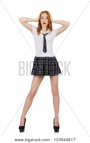 Surprised young student female isolated on white