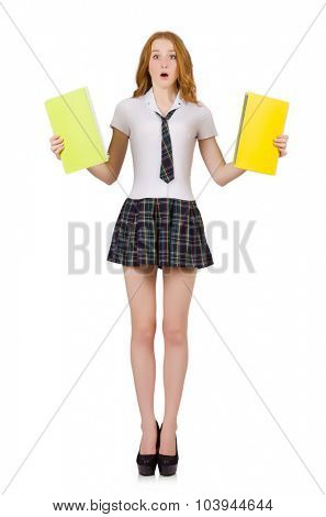 Young surprised student female isolated on white