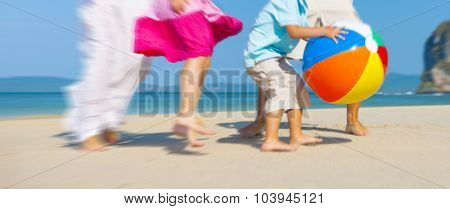 Family Playing Happiness Bonding Recreation Beach Concept