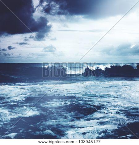 Beach Shore Coastline Storm Wave Concept