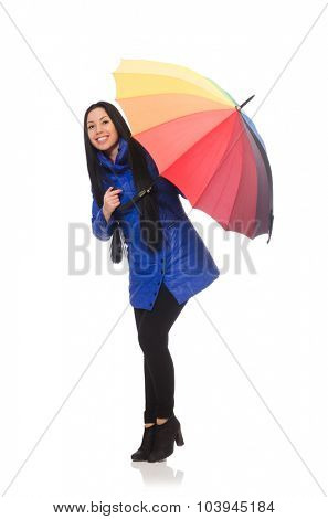 Pretty girl in blue winter jacket isolated on white
