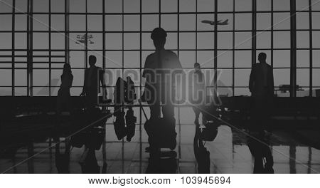 Back Lit Business People Traveling Airplane Airport Concept