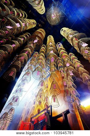 Incense Coils Burning Chinese Temple Spirituality Concept