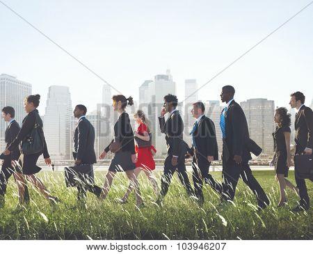 Business People Commuter Walking Cityscape Concept