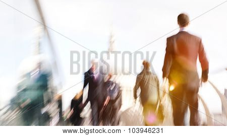 People Rushing in London Walking Business People Concept