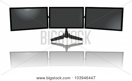 three wide monitors, triple, tv, flat vector illustration