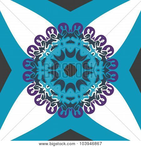 Seamless tile with rounf mandala medallion in the center in blue color.