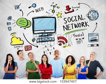 Social Network Social Media Diversity People Thinking Concept
