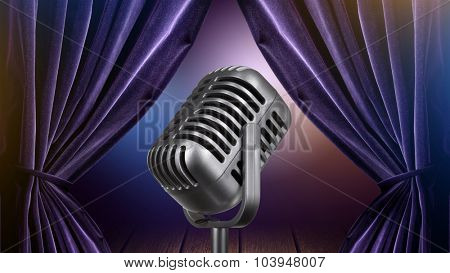 stage with open curtains and microphone. Header for website