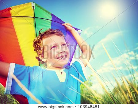 Cheerful Young Boy Playing Kite Outdoors Concept