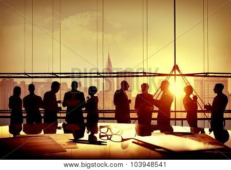 Back Lit Business People Discussion Cityscape Meeting Concept