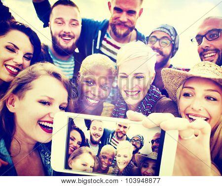 Friendship Selfie Happiness Beach Summer Concept