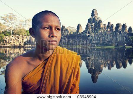 Contemplating Monk Angkor Wat Siem Reap Cambodia