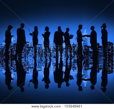 Business People New York Night Silhouette Concept