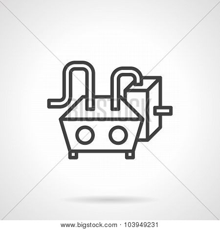 Water heating black line vector icon