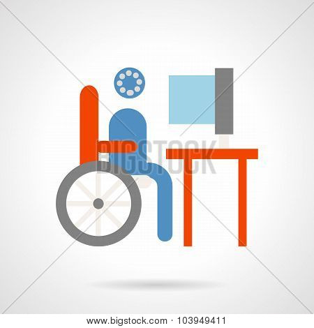 Distance education flat vector icon