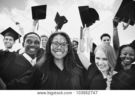 Group of Diverse Students Celebrating Graduation Concept