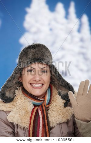Happy Woman At Winter