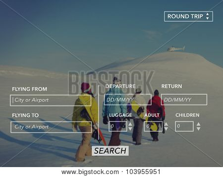 Searching Booking Flight Round Trip Travel Concept