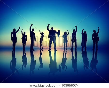 Business People  Successful Celebrating Winning Concept