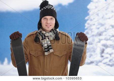 Young Man With Skis