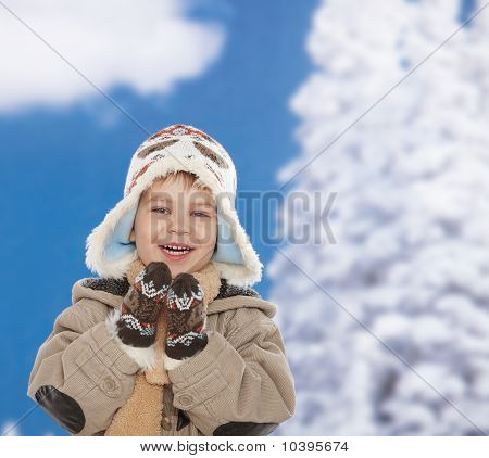 Happy Kid At Winter