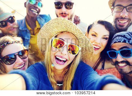 Friendship Selfie Relaxation Summer Beach Happiness Concept