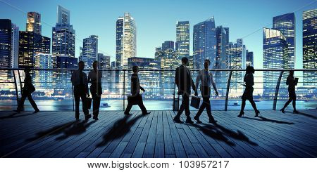Business People Colleagues Interaction Communication Night City Concept