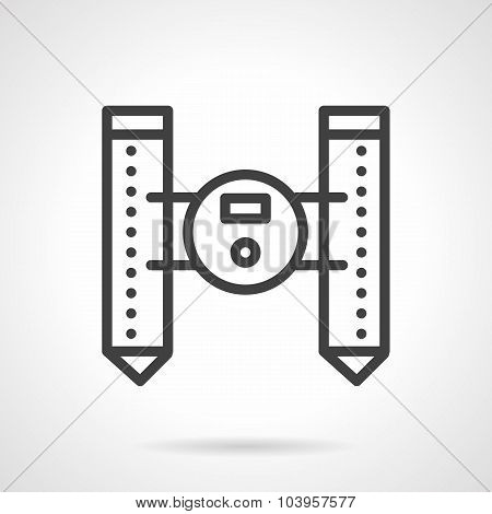 Unmanned floating robot black line vector icon