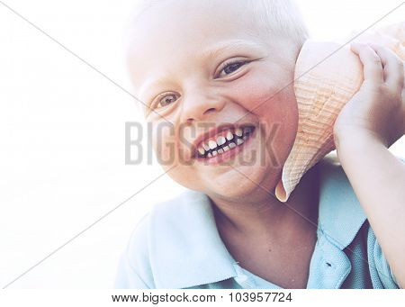 Little Boy Freedom Smiling Beach Relaxing Concept